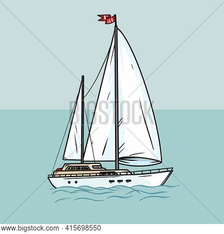 Sailing Yacht With White Sails In The Open Ocean. Illustration Chic Sailing Ship On Waves. Luxurious