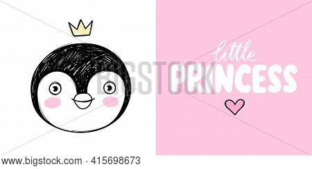 Cute Penguin Princess With Crown Isolated On White. Doodle Animal Face Illustration. Vector Characte
