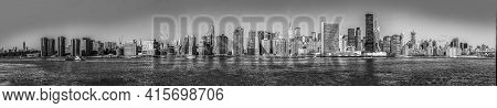 New York, Usa -  October 23, 2015: Skyline Of New York Seen From East River. The Waterway Connects U