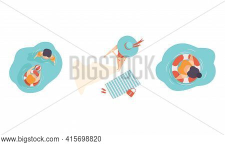 Set Of People Sunbathing And Swimming On The Beach, People Enjoying Of Summer Holidays Flat Vector I