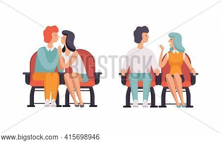 Couples Watching Film In Movie Theater Set, Front View Of Happy Couples Sitting In Cinema Hall Flat