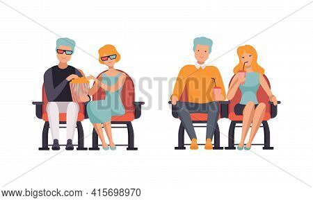 Couples Watching Film In Movie Theater Set, Front View Of Happy Young Men And Women Sitting In Cinem