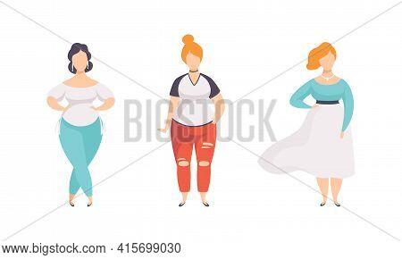 Beautiful Stylish Plump Women Set, Plus Size Overweight Girls In Fashion Clothes Flat Vector Illustr