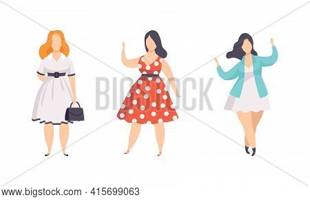 Beautiful Plump Women Set, Plus Size Overweight Girls In Stylish Clothes, Body Positive Concept Flat