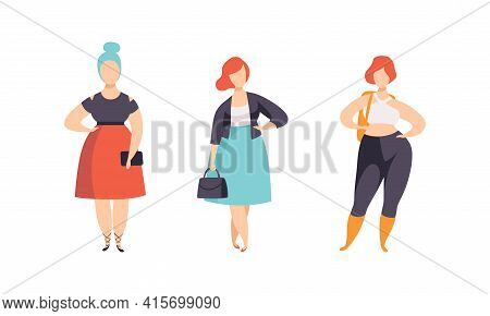 Stylish Plump Young Women Set, Plus Size Girls In Fashionable Clothes Flat Vector Illustration