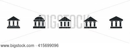 Bank Icon Set. University Black  Symbol Group. Building With Columns Silhouette Collection. Vector I