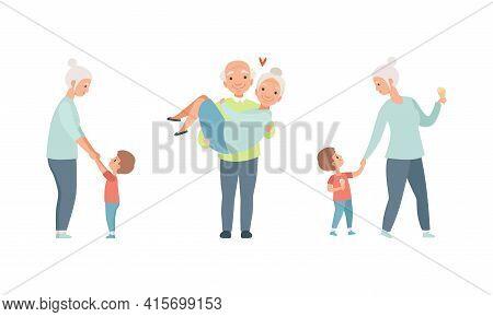 Happy Grandparents Set, Elderly Loving Couple Activity, Grandma Having Good Time With Her Grandson C