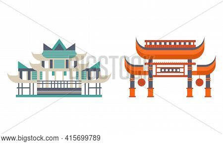 Asian Traditional Buildings Set, Ancient Eastern Cultural Objects, Pagoda Palace Traditional Temple