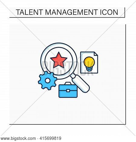 Talent Analytics Color Icon.software Gathers Insights Into Company Workforce, Potential Employees. F