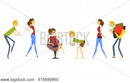 Funny Henpecked Man, Weak Husband Dominated By Strong Wife Set Cartoon Vector Illustration I