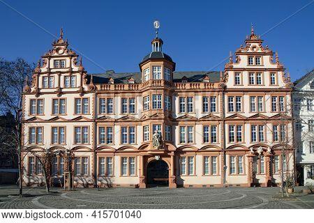Mainz, Germany - February 13, 2021: Scenic Facade Of Historic Gutenberg Museum In  Mainz.