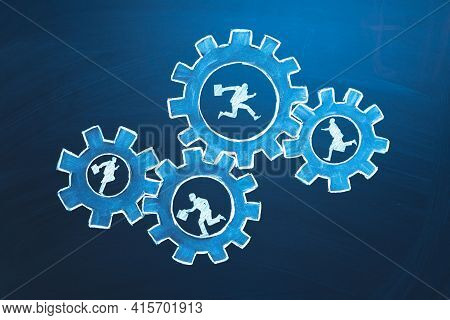 Teamwork Business Concept. Businessmens Running In Gears. Idea Of Partnership, Cooperation, Team Wor