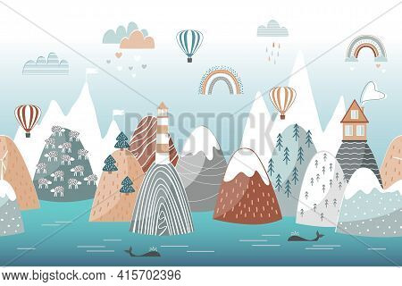 Cute Seamless Landscape Pattern With Sea Waves, Mountains, Lighthouse, Clouds And Rainbows. Travel C