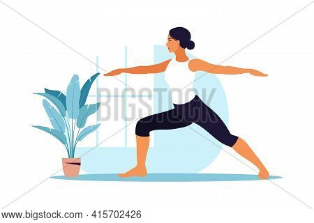 Young Woman Practices Yoga. Physical And Spiritual Practice. Vector Illustration In Flat Cartoon Sty