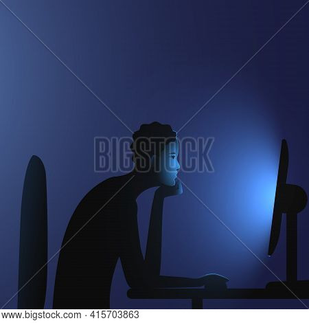 Internet Addiction. A Black Woman With Cornrows Short Hairstyle Sits At A Computer Late At Night. Ve