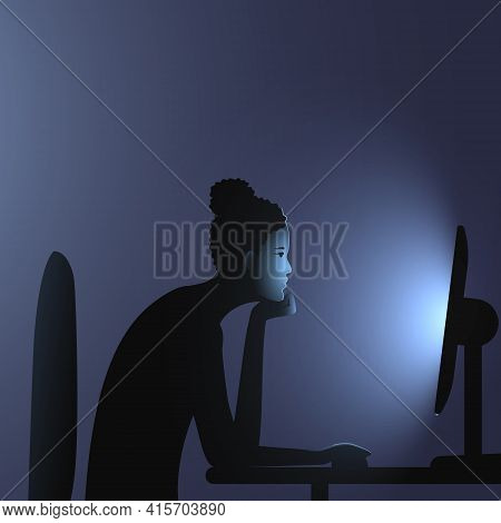 Internet Addiction. A Black Woman With Cornrows With Bun Hairstyle Sits At A Computer Late At Night.