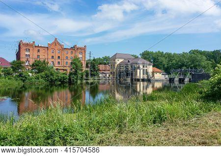 Ozersk (darkehmen, Angerapp), Kaliningrad Region, Russia, June 15, 2019. Mill Building. Architectura