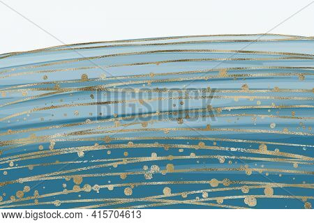 Abstract Luxury Liquid Marble Blue Watercolor Background With Gold Glitter. Agathe Marbled Wave Spla