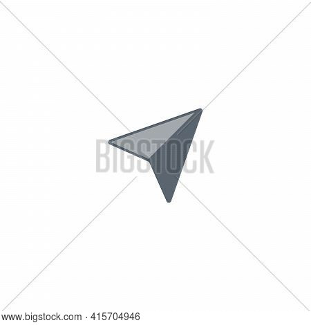 Acute Triangle Pointer Click Icon Isolated On White Background. Clicking Cursor, Waiting Loading Ico
