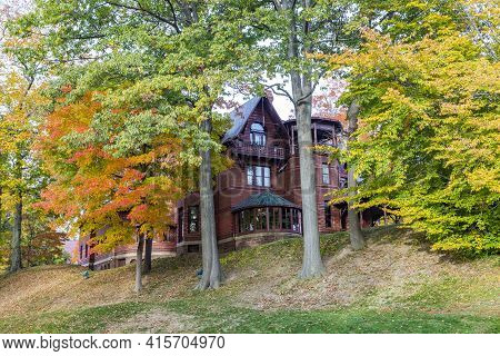 Hartford, Usa - October 27, 2015: Mark Twain House In Hartford, Connecticut. The Former Home Of Mark