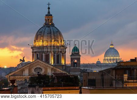 Rome City Night Illuminated  View  From Top Of Spanish Steps With Sant Ambrogio E Carlo Al Corso (or