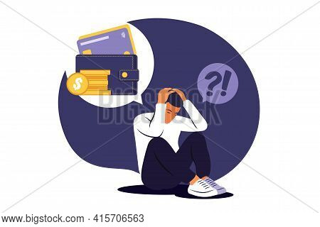 Depressed Sad Man Thinking Over Problems. Bankruptcy, Loss, Crisis, Trouble Concept.