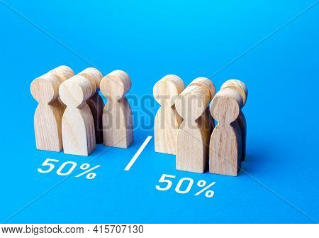 The Group Of People Is Divided Equally By Line. Visualization Of Statistical Data. 50% Of 100%. Divi