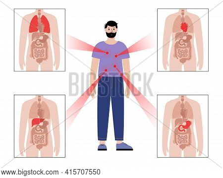 Pain In Internal Organs In The Man Body. Problem With Heart, Stomach, Lungs And Liver In Male Silhou