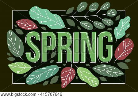 Big Spring Word Surrounded By Green Fresh Leaves Of European Forests Vector Flat Style Illustration
