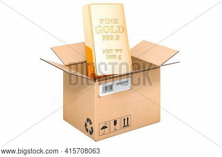 Gold Bullion Inside Cardboard Box, Delivery Concept. 3d Rendering Isolated On White Background
