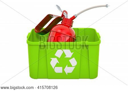 Recycling Trashcan With Oil Can. 3d Rendering Isolated On White Background