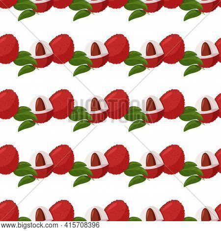 Tropical Fruit Lychee Background. Fresh Exotic Berry Vector Seamless Pattern.