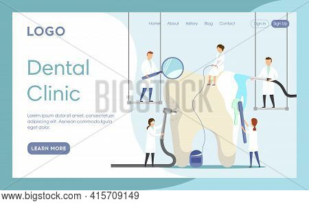 Vector Illustration In Cartoon Flat Style. Landing Page Interface Layout Composition With Characters