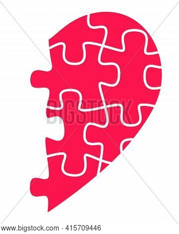 Half Heart From Puzzles - Vector Full Color Illustration. Red, Half Heart From Puzzles. The Symbol O
