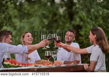 friends toasting red wine glass while having picnic french dinner party outdoor