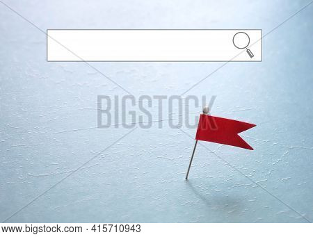 Red Pin Locator Flag With A Blank Internet Search Window