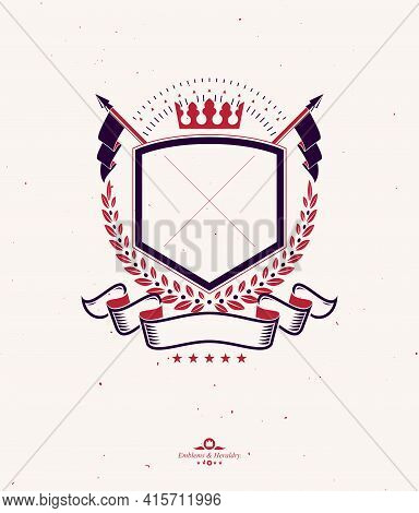 Graphic Emblem Composed Using Majestic Crown And Flags. Heraldic Coat Of Arms Decorative Logo Isolat