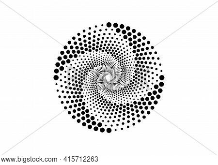Halftone Dots In Spiral Form, Round Logo. Vector Dotted Frame. Twirl Design Concentric Circles Geome