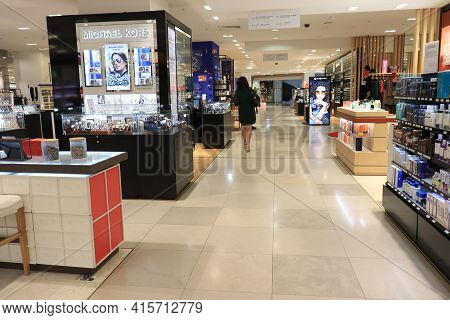 Marseille, France,  September 25th 2019:  Perfume And Cosmetics Department At Galeries Lafayette, Th