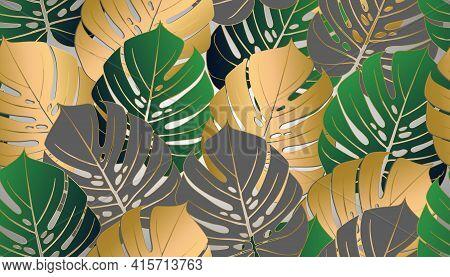 Monstera Tropical Leaf Vector Illustration. Summer Print. Vector Banner. Ink Line Art Design. Seamle
