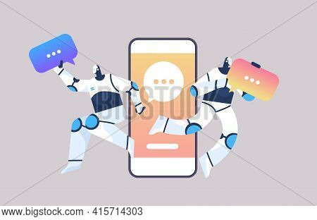 Cute Robots With Chat Bubbles Using Online Mobile Chatting App Online Communication Artificial Intel
