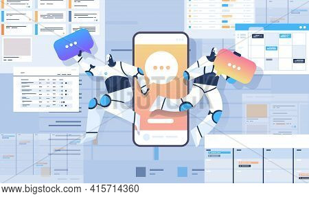 Robots With Chat Bubbles Using Online Mobile Chatting App Online Communication Artificial Intelligen
