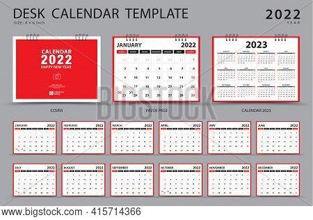 Desk Calendar 2022 Year Vector And Calendar 2023 Template, Set Of 12 Months, Planner Template, Week