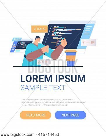 Programmer Writing Code For Computer App Engineering Software Coding Programming Languages Applicati
