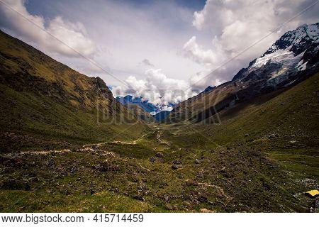 Hiking Trail In A Valley In The Andes In Peru