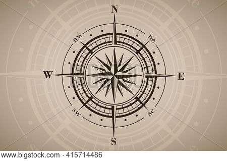Compass Rose Or Wind Rose On Brown Vintage Background