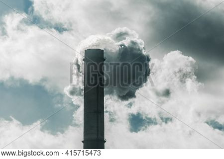Environmental Pollution, Environmental Problem, Smoke From The Chimney Of A Plant Or Thermal Power P
