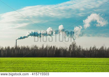 Environmental Pollution, Environmental Problems, Smoke From The Chimney Of An Industrial Plant Or Th