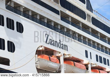 Ijmuiden, The Netherlands - June 15th 2020: Ms Zaandam Operated By Holland America Line, Foraging At