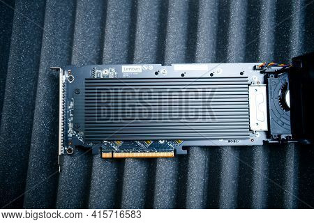 Paris, France - Dec 12, 2020: View From Above Of The Heatsink Of New Lenovo Thinkstation Quad Aic M.
